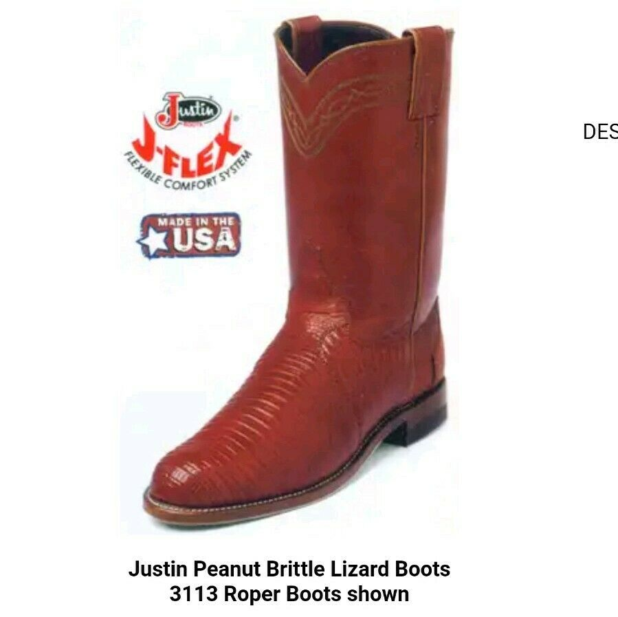 Mens sz 6.5 Womens sz 8.5 Red Brown Iguana Lizard Justin Cowboy Boots Preowned