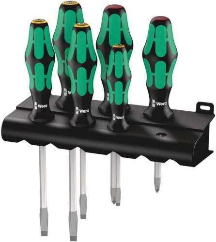 6-Piece Wera Kraftform Plus 334 Sk//6 Screwdriver Set And Rack Lasertip