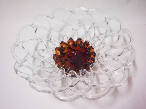 Glass Fruit Platter Home Decoration Brand New Clear with Brown Colour 35cm