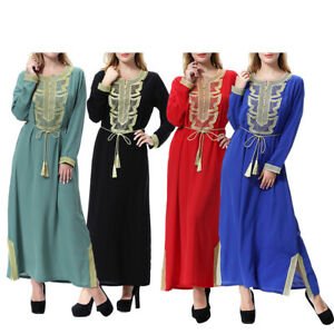 Muslim Abaya Kaftan Women Flower Long Dress Islamic Robe