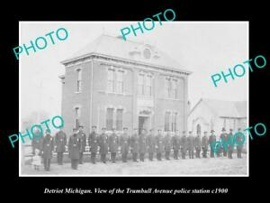 OLD-LARGE-HISTORIC-PHOTO-OF-DETROIT-MICHIGAN-THE-TRUMBELL-POLICE-STATION-c1900