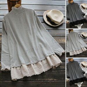 ZANZEA-Women-High-Neck-Long-Sleeve-Tops-Shirt-Lace-Stripe-Loose-Tee-Basic-Blouse