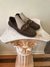 5ea44f578d0 COACH 9B Fortunata Gold Bit Brown Suede Loafers Leather Driving Shoes Flats