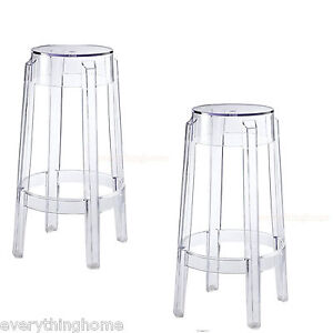 Super Details About Set Of 2 Clear Round Counter Stools Acrylic Ghost Transparent 26 5 Hgt Modern Gmtry Best Dining Table And Chair Ideas Images Gmtryco
