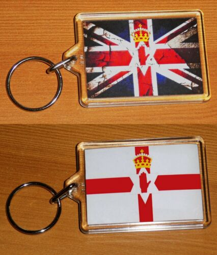 Union Jack Flag Ulster Banner Double Sided Key Ring Chain