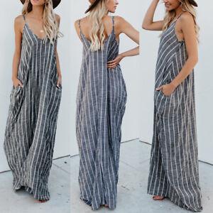 81bd51c3c73f Details about UK 8-24 Women Sleeveless V Neck Stripe Strappy Loose Tops  Vest Long Maxi Dress
