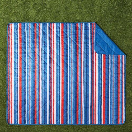 """Mainstays Outdoor Blanket 60/""""x70/"""" Hydrofuge soutien rayures bleu"""