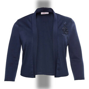 elegant Abend Jersey Bolero Gr.50/52 MARINE BLAU Jacke Applikation Stretch