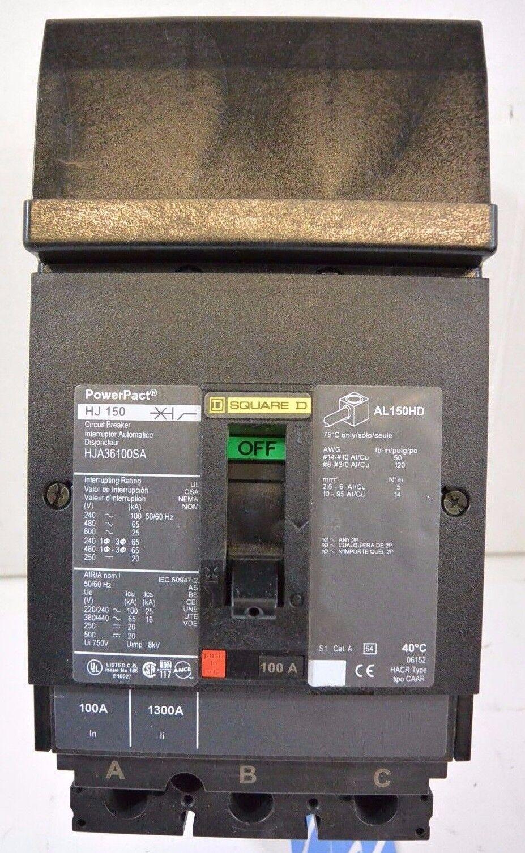 SQUARE D PowerPact HJA36100SA 100a 600v 3P Circuit Breaker w  120v Shunt Trip