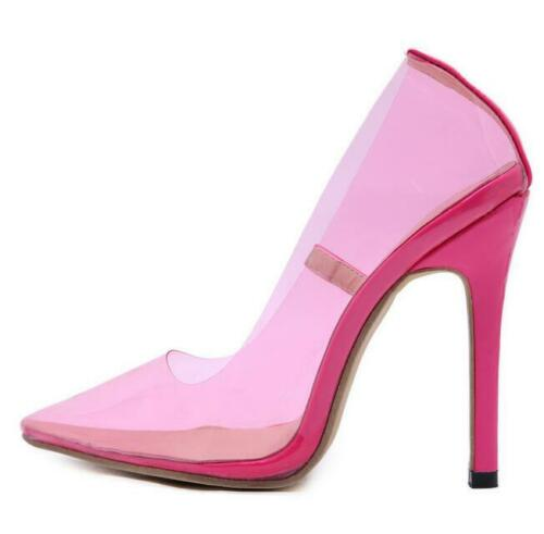 Femme 12 cm Super Stilettos CLAIR PVC Candy Color Escarpins Talons Hauts Stilettos Chaussures
