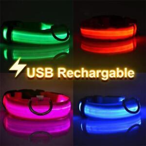 USB-DEL-Rechargeable-Dog-Pet-Collar-clignotant-lumineux-reglable-Lampe-de-securite-KY