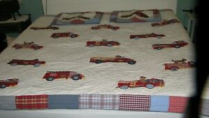 Pottery Barn Kids Full Queen Firetruck With Puppy Quilt