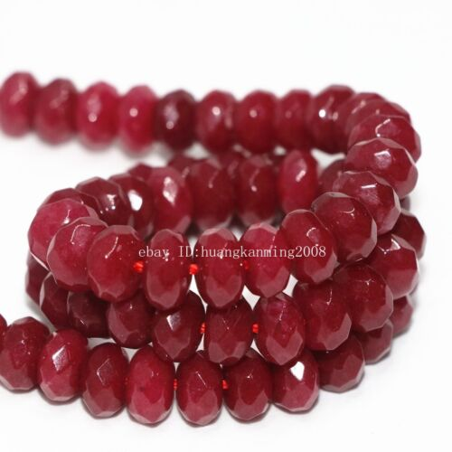 """red natural stone chalcedony jades 5x8mm charms faceted  loose beads15/"""""""