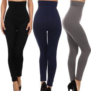 Damen-hohe-Taille-Slim-Tone-Leggings-Mieder-Taillenformer-Bauchweg-Samt-Hosen