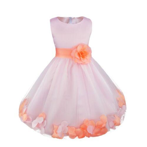Petal Flower Girl Dress Gown Prom Bridesmaid Wedding Formal Party Princess Dress