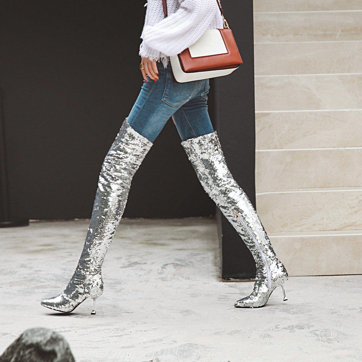 New mujer Fashion Glitter Bling Zip High Heels Nightclub Over Knee botas zapatos