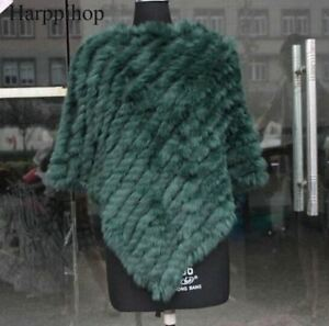 Fur Poncho Triangle Cape Autumn Women Wrap Knitted Spring Natural Scarves x8tEE