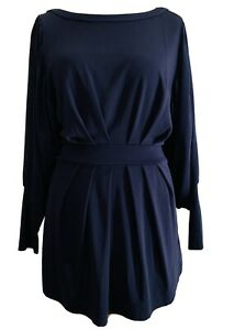 Topshop Boutique Navy Blue Tunic Tie Up Waist Pleated Batwing Sleeves Size 12