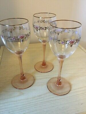 PAIR OF VINTAGE Luminarc PinkPeach Stemmed Wine Glasses