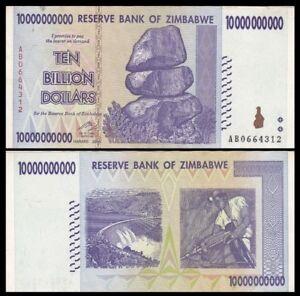 Details About Zimbabwe 10 Billion Dollars 2008 P 85 100 Trillion Series World Currency