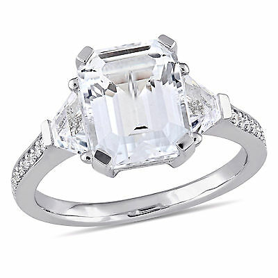 Amour Sterling Silver White Topaz and Diamond Accent Engagement Ring