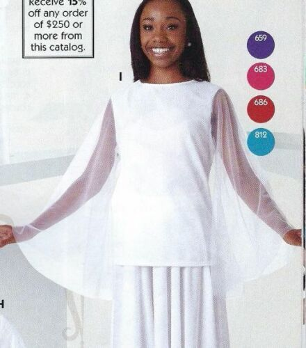 NWT Praisewear Liturgical Dance Top Chiffon Bell Sleeve 6 Color Choices Ad//Chld