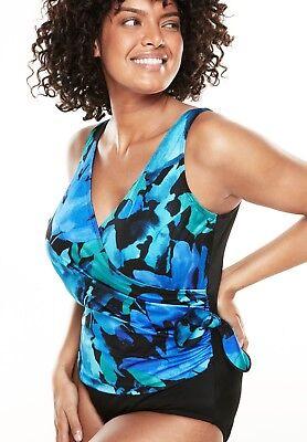 LONGITUDE Plus Size 22W 24W Floral Flutter Side Tie Swimsuit NWT $123