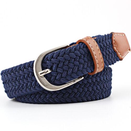 Mens Womens Ladies Elasticated Belt Canvas Stretch Elastic Braided Belts Buckle
