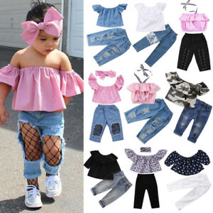 Floral Toddler Kid Baby Girl Clothes Jeans Denim Pants Headband Outfit New