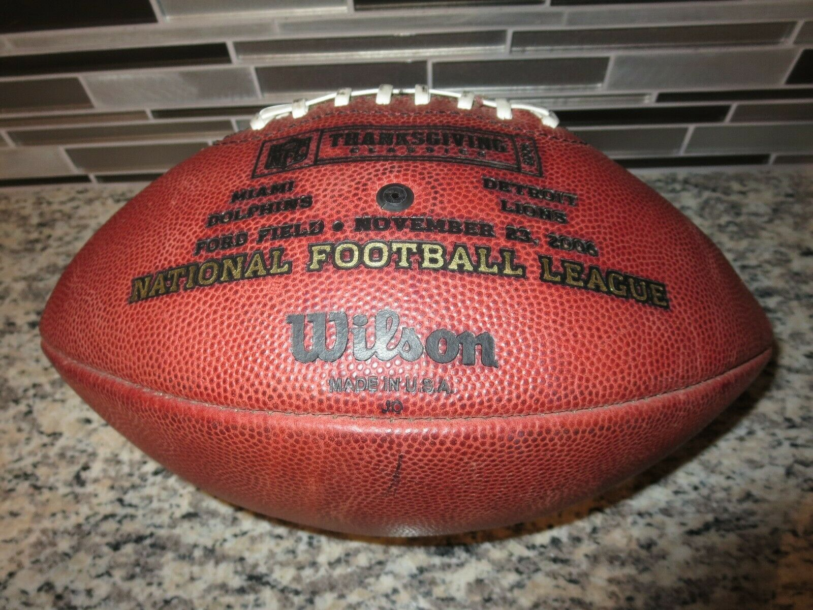 Miami Delfines Detroit Lions 2006 Thanksgiving Day Gameday Wilson Duke