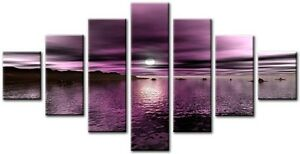 7 Panel  LARGE WALL ABSTRACT QUALITY ART CANVAS  DIGITAL  Ensign Black White