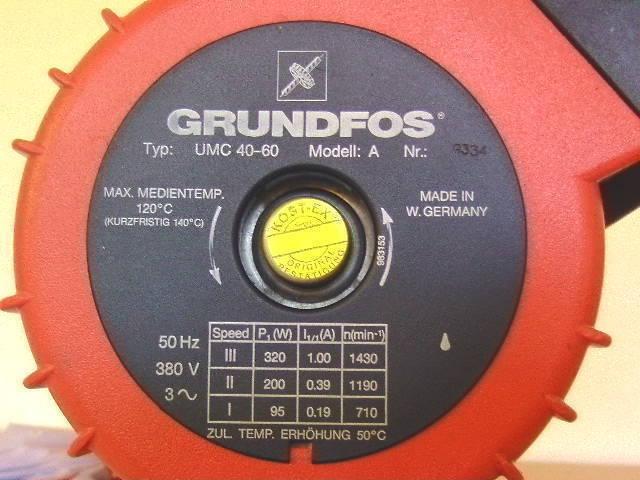 Grundfos Pumpe UMC 40 60  Bl. 280 mm 3x400 V Heizungungspumpe KOST-EX P13 209