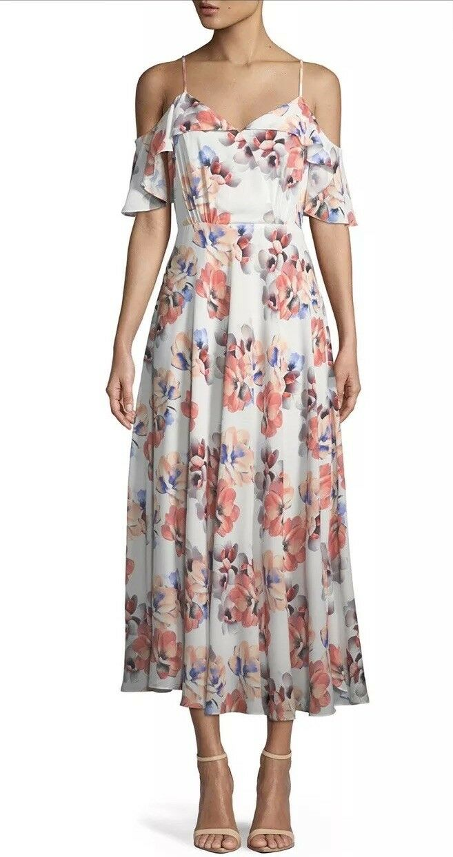 CeCe by Cynthia Steffe Garden Blooms Cold-Shoulder Maxi Dress Size 2 MSRP