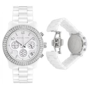 New-Michael-Kors-MK5188-White-Ceramic-Bracelet-Ladies-Chronograph-38mm-Watch