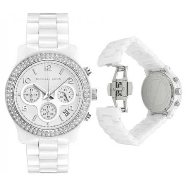 New Michael Kors MK5188 White Ceramic Bracelet Ladies Chronograph 38mm Watch