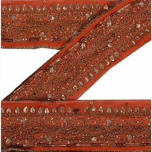 Sanskriti Vintage Sari Border Indian Craft Orange Trim Hand Beaded Ribbon Lace Antiques