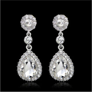 Image Is Loading Tier Drop Clear Austrian Rhinestone Crystal Dangle Earrings