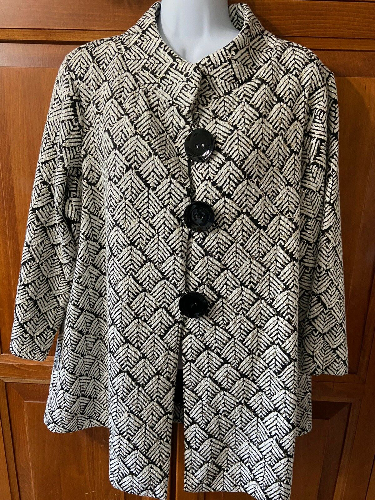 Women's JM Collections Jacket 3/4 Sleeve Black/White Sz 1X