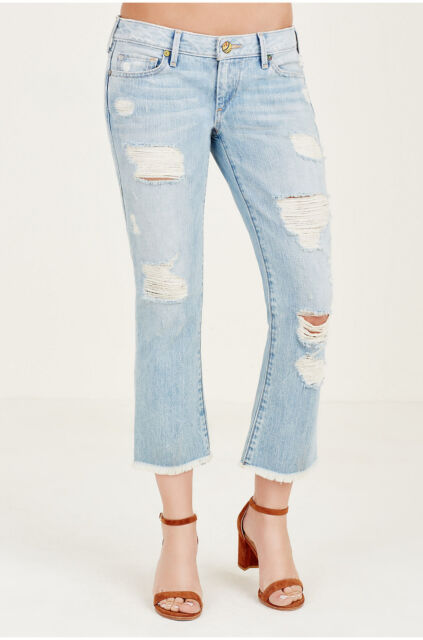 ec6c675d4af True Religion Sz24 Karlie Bell Bottom Crop Distressed Jeans Vintage ...