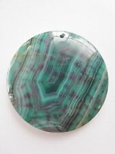 Large Teal Blue & Purple Striped Dragon Vein Fire Agate Round Pendant Bead 45mm