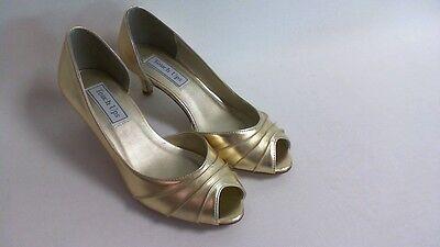 Retoques Boda Zapatos-HH 1 3/4 - Dorado-Abby-US 8 W Reino Unido 6 #15R389