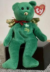 "Ty Beanie Baby ~ GIFT Green JOY Angel 8"" Bear ~HALLMARK Exclusive - Christmas"