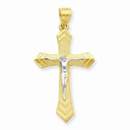 10K gold TWO-TONE CRUCIFIX PASSION CROSS CHARM PENDANT  - 1.4  (35x21mm)