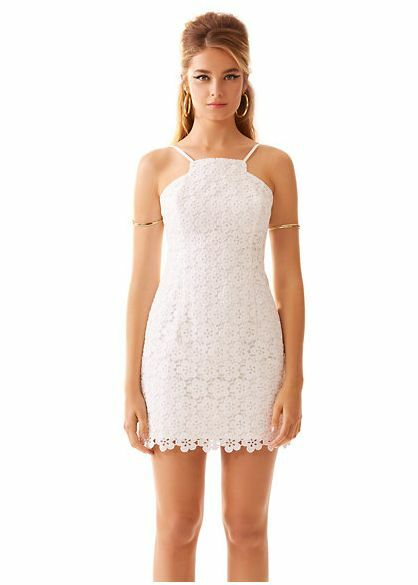 NWT  Lilly Pulitzer Katie White Truly Daisy Lace With Iridescent Dress