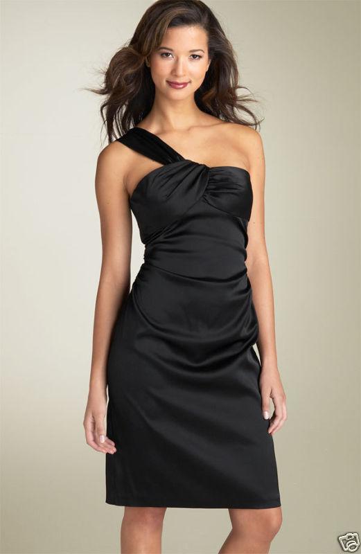 kvinnor Ricco One Shoulder Satin Sheath Dress (Storlek 14)