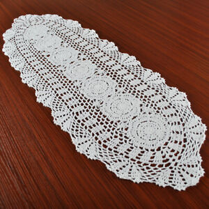 White-Vintage-Lace-Table-Runner-Hand-Crochet-Dresser-Scarf-Oval-Wedding-11-034-x35-034