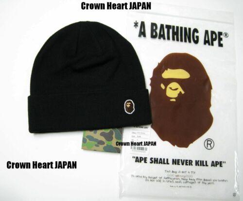 New A Bathing Ape Men/'s APE HEAD ONE POINT KNIT CAP Black Beanie from BAPE Japan