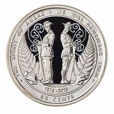 """New Zealand 50 cents 2015 /""""Spirit of Anzac/"""" Colored UNC"""
