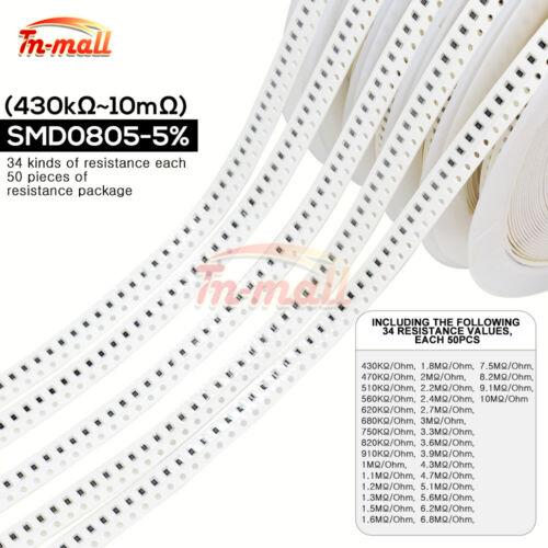 0Ω to 10MKΩ Each 50PCS ±5/% SMD0201 0402 0603 0805 1206 Resistors 34 Values