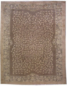 1910-1l03 274cm X 365cm Obliging Hand Made Antique Fete Chinese Rug 9' X 12'
